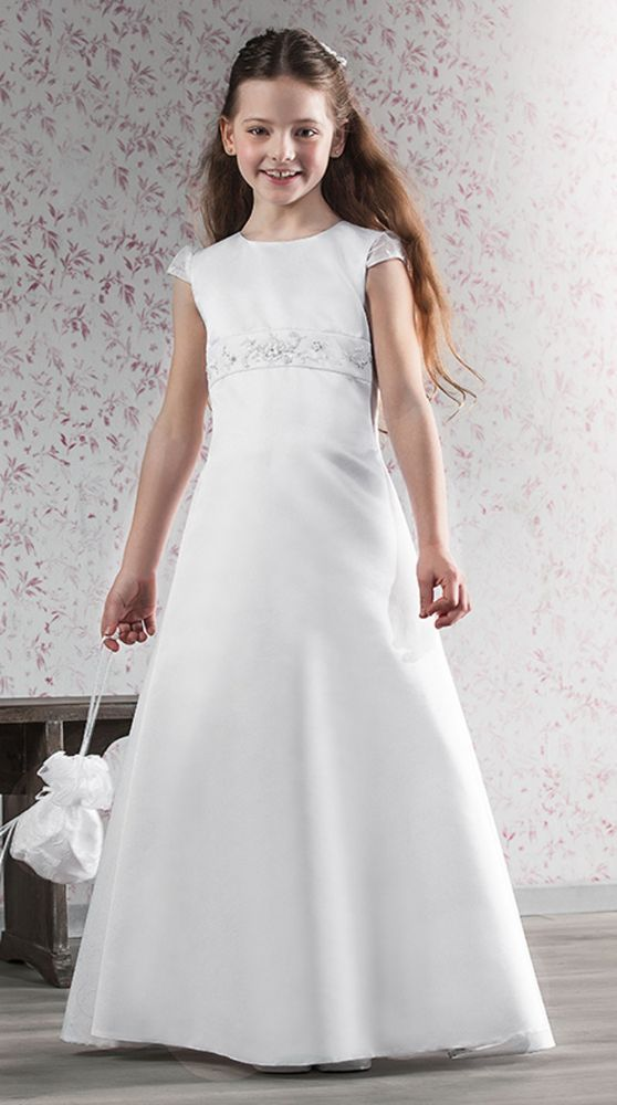 White Satin First Communion Dress - Emmerling 70138 - Beautiful Holy Communion Dresses for a Girl - Girls Communion Dress Shop Ascot Berkshire SL5