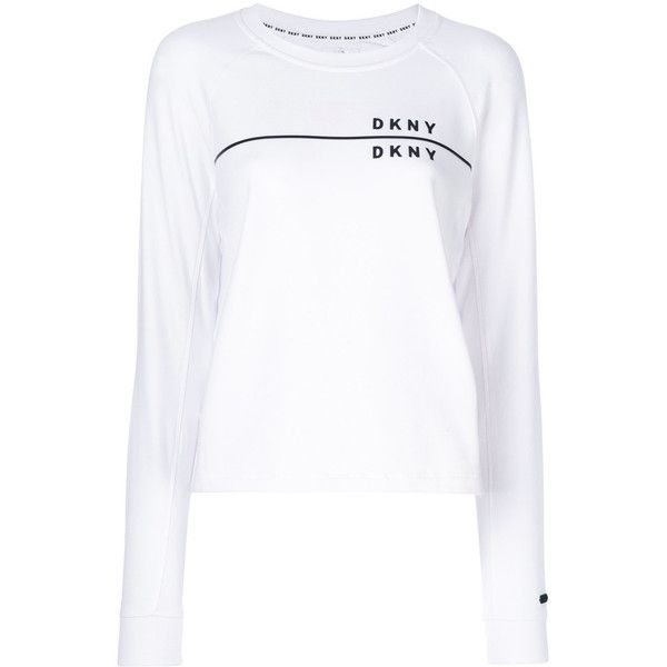 DKNY branded long-sleeved sweatshirt (€83) via Polyvore featuring tops, hoodies, sweatshirts, white, logo sweatshirts, dkny sweatshirt, white long sleeve top, long sleeve tops und white sweatshirt