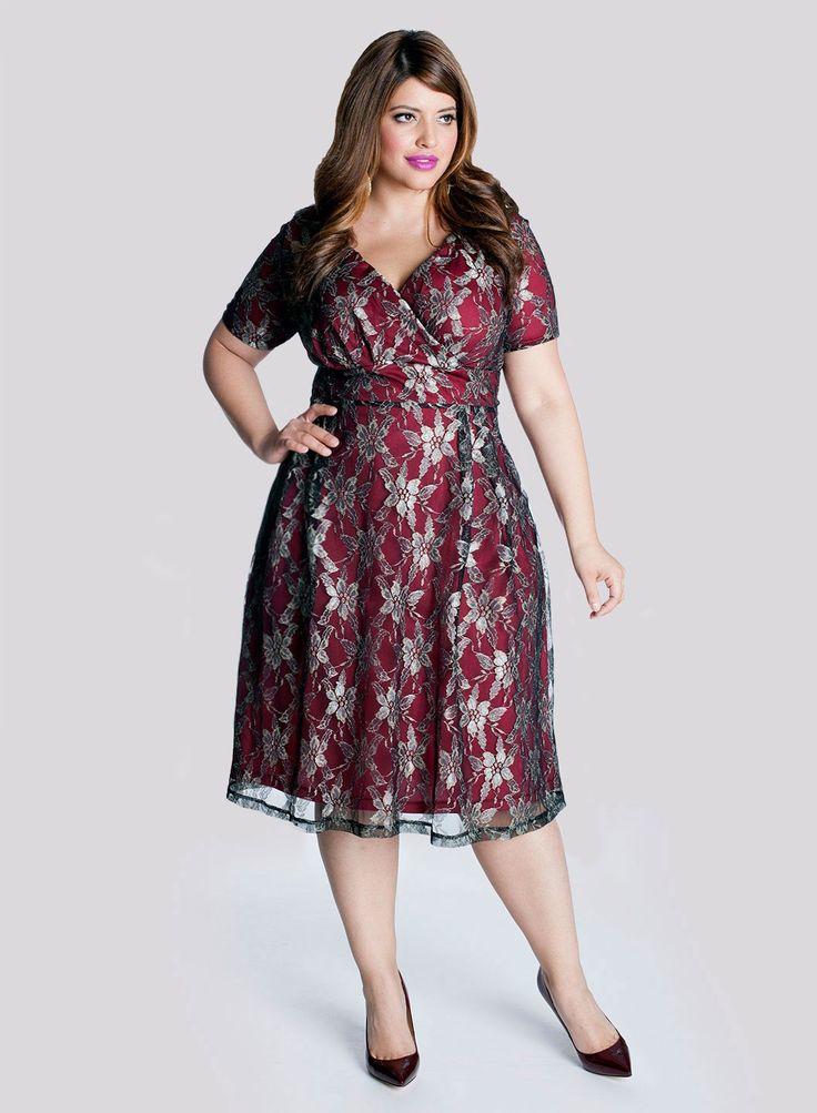 Marisol Plus Size Lace Dress in Pomegranate - Celebrate in Style by IGIGI