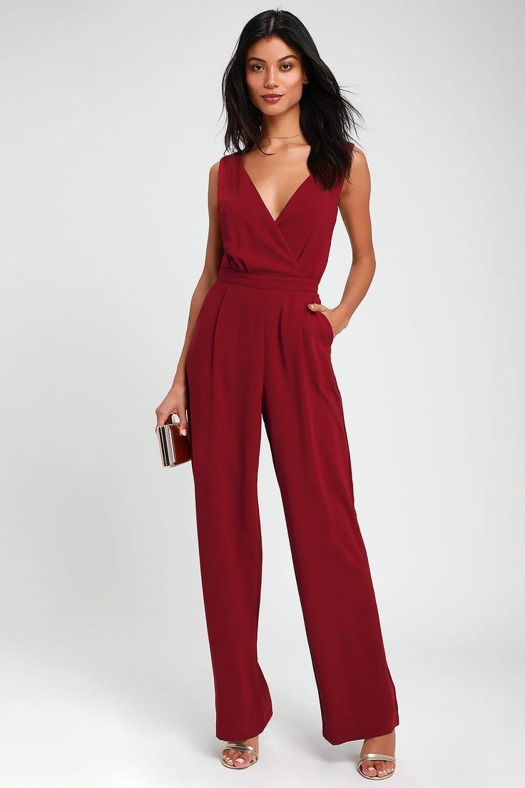 Lulus Kiska Burgundy Lace Wide Leg Jumpsuit Size Small 100 Polyester Jumpsuit Dressy Wide Leg Jumpsuit Jumpsuits For Women