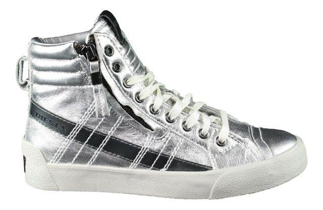 Diesel   Sneaker   D-String Plus W - silber clean, cleaner Silber metallic Schimmer #sneaker #diesel #dieselsneaker #hightopsneaker