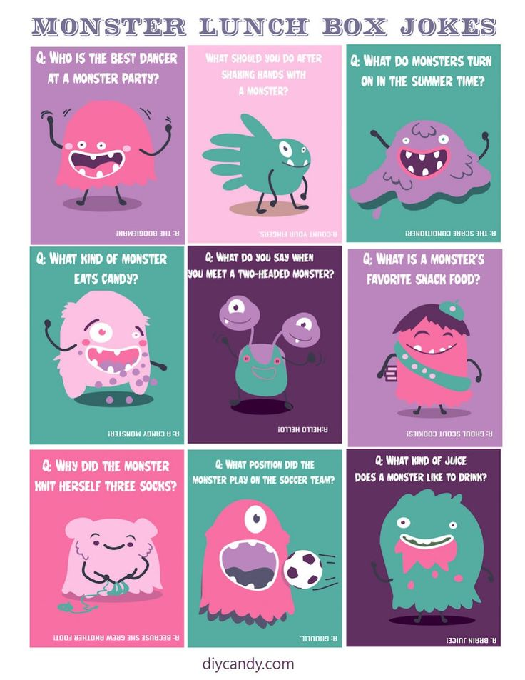 You'll love these cute FREE printable monster-themed lunch box jokes. This is an easy idea to surprise kids and remind them that they're special! via @DIY Candy