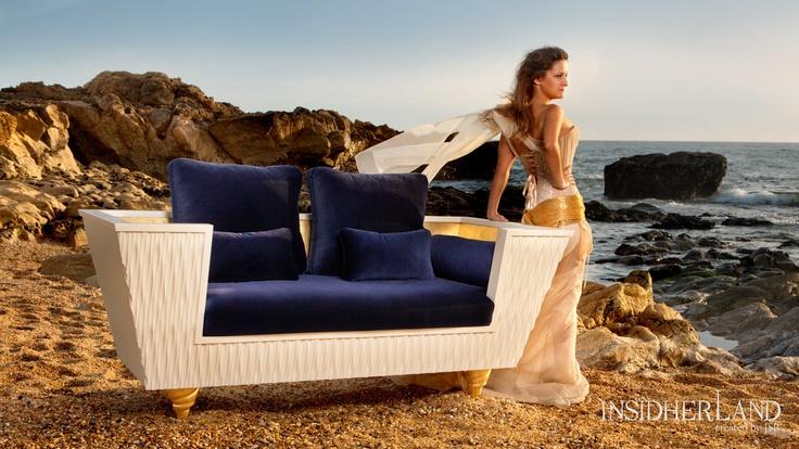 "Between Waves   Sofa by Joana Santos Barbosa @INSIDHERLAND ""I found a golden whelk anchored in the slope of sunburned sand."" - JSB #INSIDHERLAND #beach #sea #waves #light #sofa #wood #velvet #atlantic #blue"