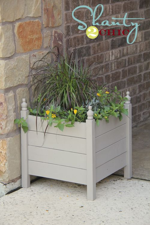 Ana White | Build a Square Planters with Finials | Free and Easy DIY Project and Furniture Plans - her website is filled with awesome DIY plans!