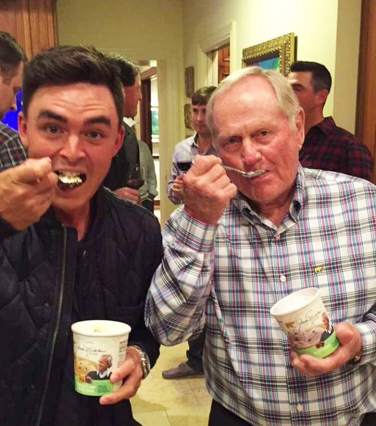 Rickie Fowler and The Golden Bear Enjoying Some Scoops Of Jack Nicklaus Ice Cream At The 2016 Honda Classic.