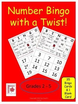 Place Value Bingo with a Twist!  Numbers to 100 are represented in 5 different ways (numeral, number word, base 10 blocks, addition, subtraction, etc.) $
