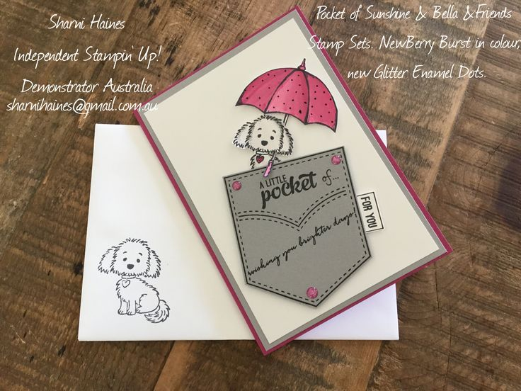 Pocketful of Sunshine, Bella & Friends & Weather Together stamp sets. Trying out the new in colour Berry  Burst.