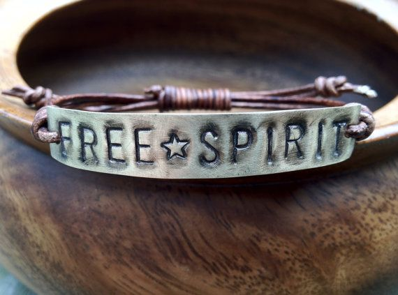 FREE SPIRIT ID Leather Bracelet, Hand Stamped, personalized, freespirit bracelet, boho bohemian, font bracelet, metal tag jewelry,