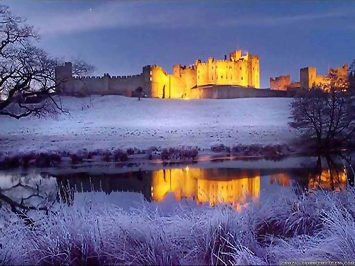 """Alnwick Castle in Winter's snow. Alnwick Castle is a castle and stately home in Alnwick in the English county of Northumberland. It is the seat of the Duke of Northumberland, built following the Norman conquest.   For those who love """"Harry Potter"""": -- The castle served as the backdrop for Hogwarts' broomstick flying lessons scenes.  For those who love """"Downton Abbey"""": --- The castle served as an impressive backdrop in the show's 2014 and 2015 Christmas specials."""