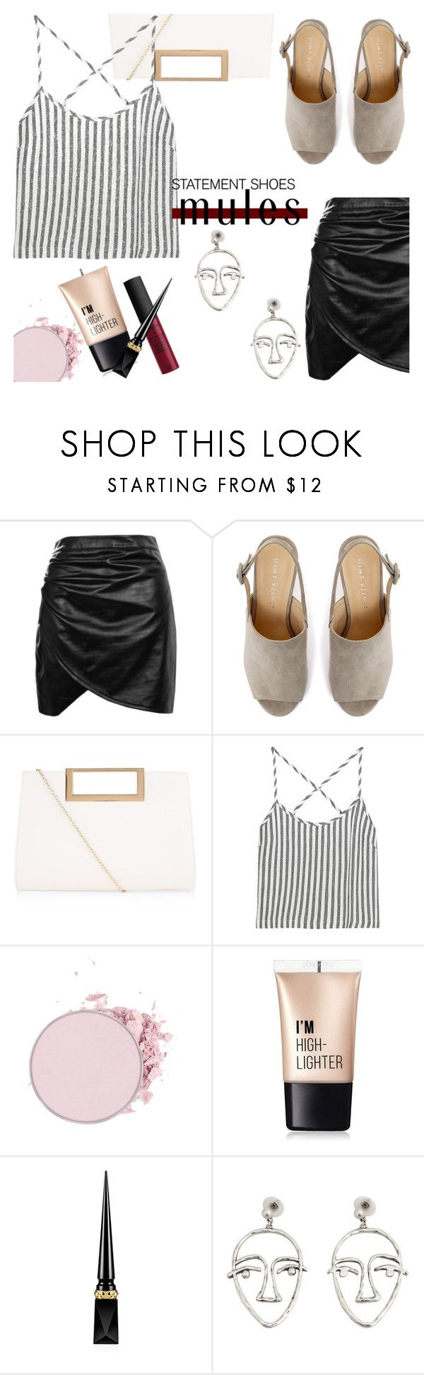 """""""statement shoes: mules"""" by lynksmichelle ❤ liked on Polyvore featuring Boohoo, Mint Velvet, New Look, Kain, Charlotte Russe, NYX, Christian Louboutin, MANGO, mules and women"""