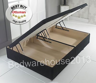 Chenille Ottoman Divan Side Lift Under Bed Storage Bedroom Uk