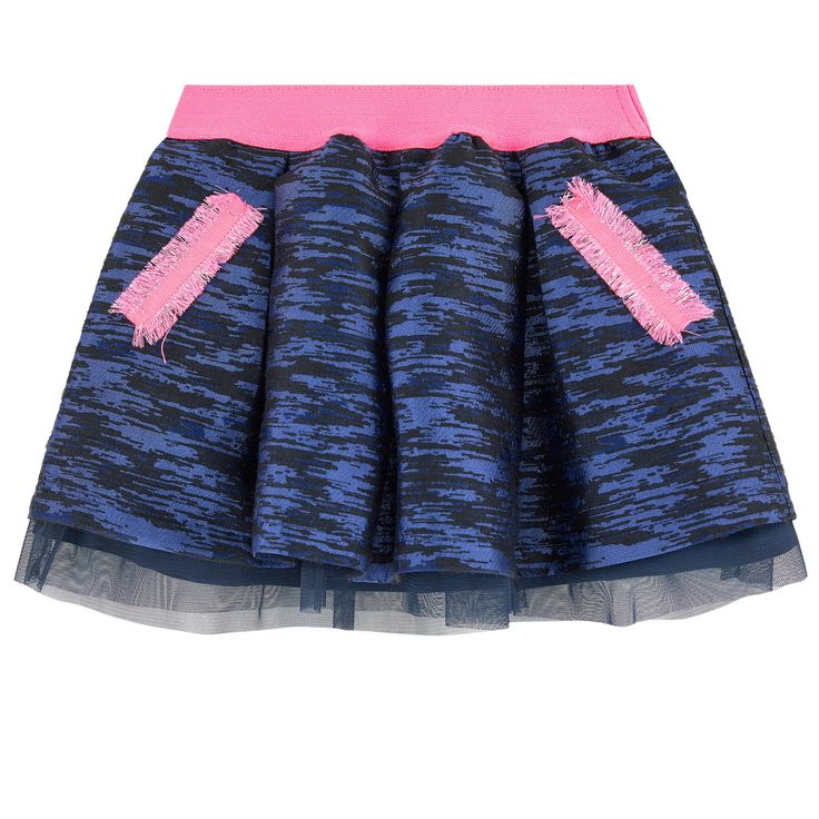 Polyester jacquard Synthetic lining Synthetic tulle Pleasant to the touch Short cut Flared hem Front pockets Box pleats on the front and in the back Elastic waistband Jacquard patterns Fancy fringes - $ 84