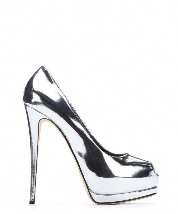 1eab19fbcf9 GIUSEPPE ZANOTTI Silver Metallic Leather  Sharon 105  Peep Toe Platform  Pumps.  giuseppezanotti  shoes  pumps   high heels  GiuseppezanottiHeels