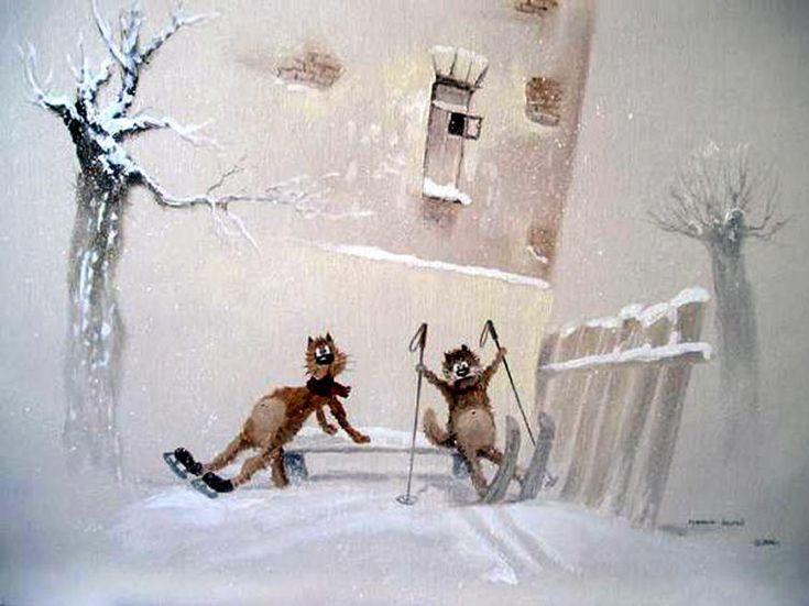 Winter cat paintings. Andrew Repnikov - Winter amusements