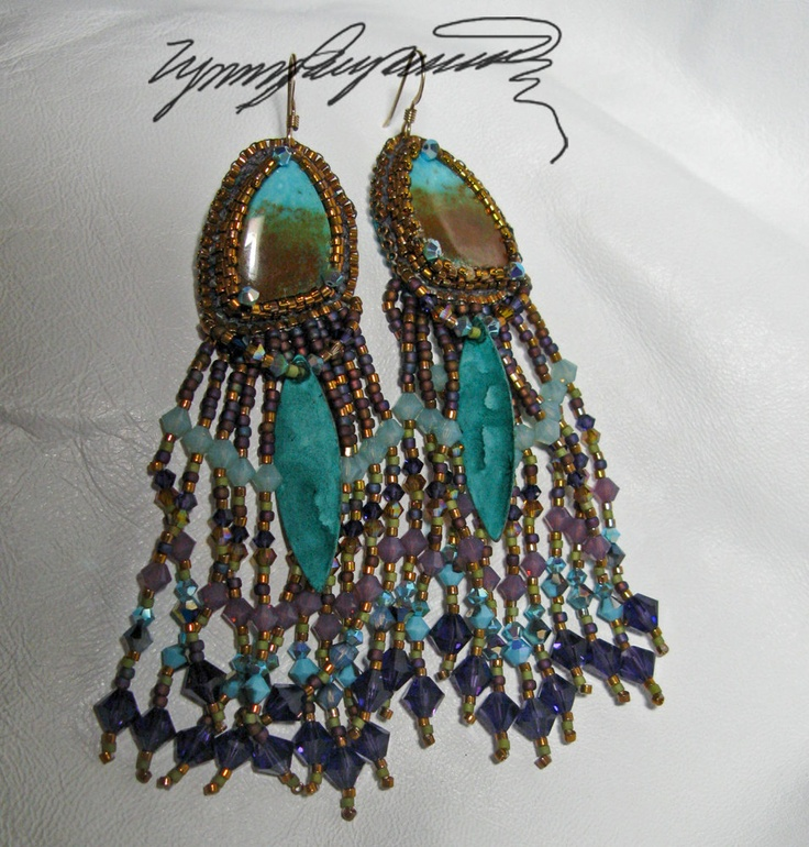 Kingman Earrings created by Lynn Parpard One of a Kind Art Piece ........ they could be yours  Turquoise stones one of a kind