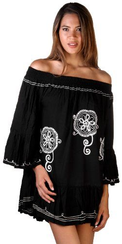 Embroidered Sequined Dress With Big Sleeves Black