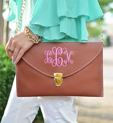 Brown Monogrammed Leather Envelope Clutch / Chain Purse - GirlyTwirly.com