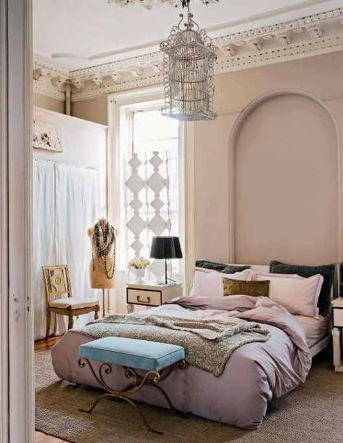 Always had a soft spot for a bedroom with a chandelier. I love how you can take any décor and make it look epic and chic … | Luxurious bedrooms, Home bedroom, Home