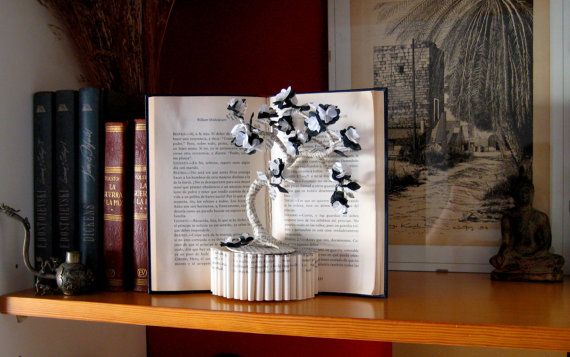 Book Sculpture - Paper Art - Tree of Happiness - Custom order.
