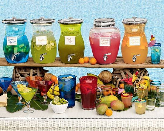 Drink Bar Idea. Perfect for a wedding, bridal shower, picnic, family reunion, shower, or party. You can get these acrylic drink dispensers from Pottery Barn. <3