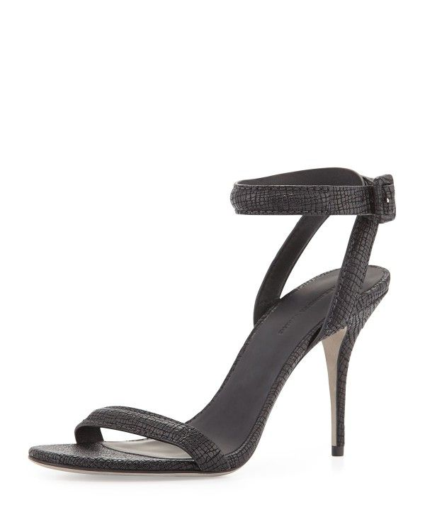 Womens High Heels Alexander Wang Womens Joey Ankle Strap Sandal 3 1 4 Heels Heels black leather Hot Sale