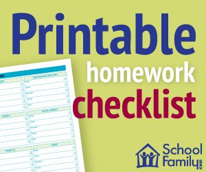 Send your child to school with this weekly homework checklist divided by subject; it has space to write each day's assignments and to check them off when finished.