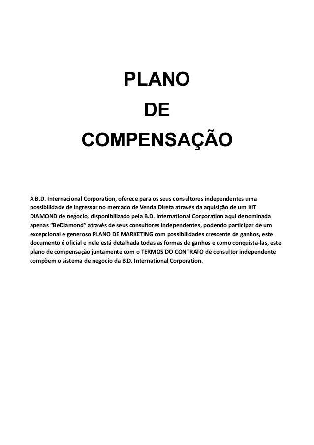 BeDiamond International Plano Plano de Adesão by BeDiamond International via slideshare