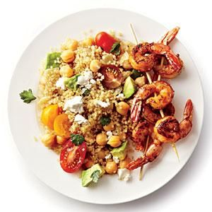 Quinoa, shrimp, and chickpeas pack a triple punch of protein in the this tasty summer dish of Spicy Grilled Shrimp with Quinoa Salad.