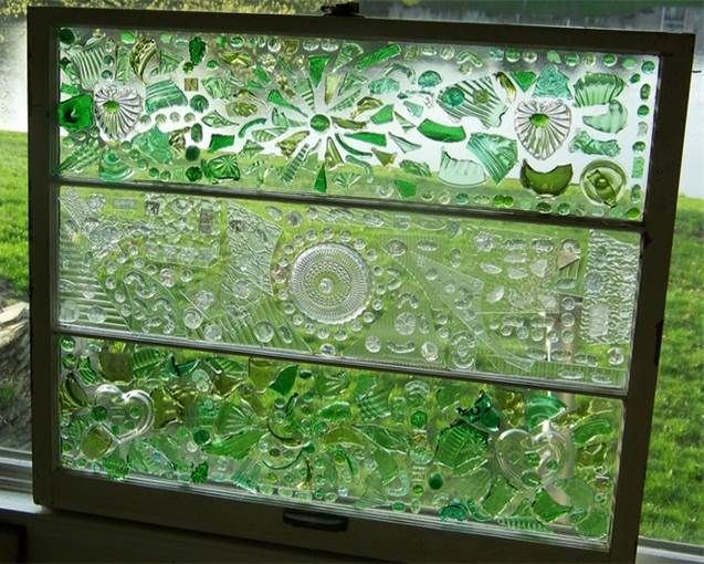 This window was made from broken glass bottles reuse for Broken glass crafts