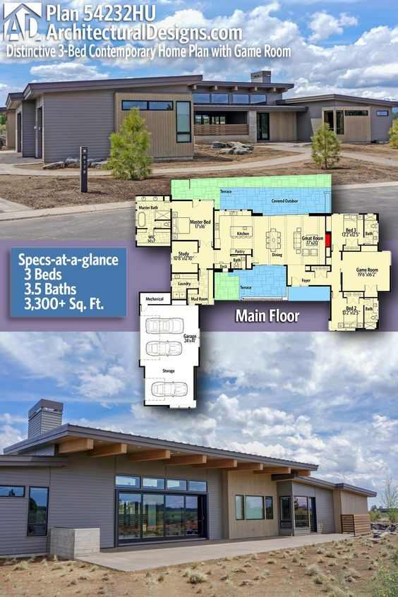 Plan 54232HU Distinctive 3-Bed Contemporary Home Plan with Game