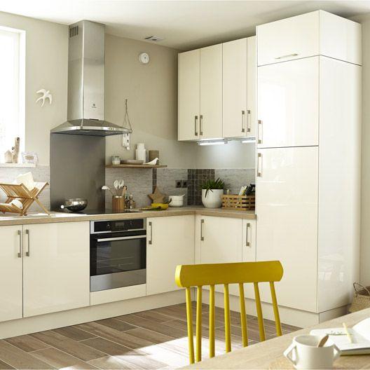 meuble de cuisine beige delinia composition type perle. Black Bedroom Furniture Sets. Home Design Ideas