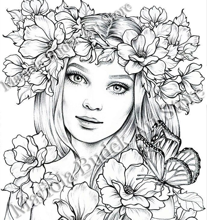 Lady Spring Mariola Budek Premium Coloring Page Etsy Fairy Coloring Pages Fairy Coloring Coloring Pages