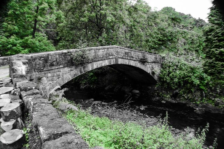 This bridge is found close to the entrance to Hardcastle Craggs National Trust managed woodland near Hebden Bridge, West Yorkshire. It crossers the Hebden Beck and I am unsure of its proper name.  Picture Copyright © 2017 Colin Green All Rights Reserved