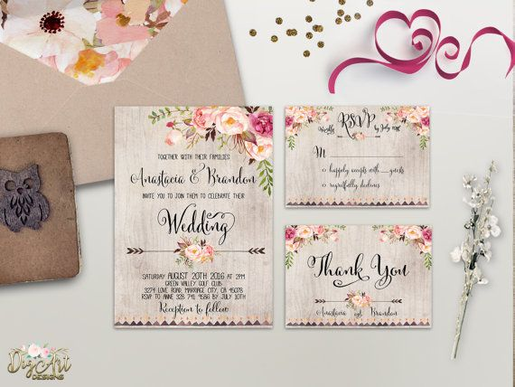 Floral Wedding Invitation Printable Wedding Invitation Suite Rustic Wedding Invite Boho Wedding Invite Peonies Wedding Invite Digital File