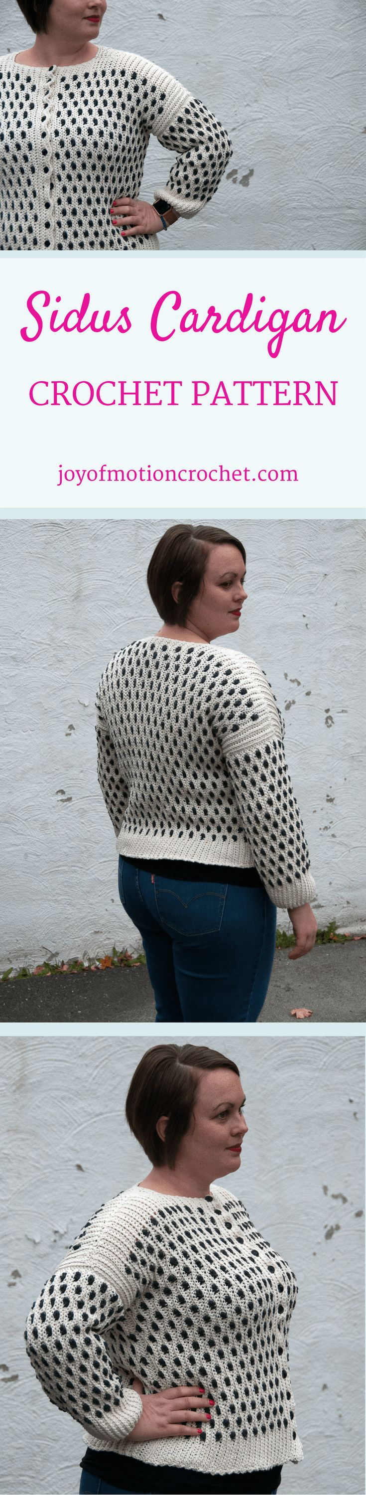 The Sidus Cardigan a crochet pattern. Woman's cardigan crochet pattern with skill level intermediate. Make this fashionable crochet cardigan with you own hook & yarn. Cardigan crochet pattern intermediate for her . Crochet cardigan | woman's crochet cardigan | crochet pattern for her | fashionable crochet cardigan | interesting crochet cardigan | click to learn more or repin to save it forever. via @http://pinterest.com/joyofmotion/