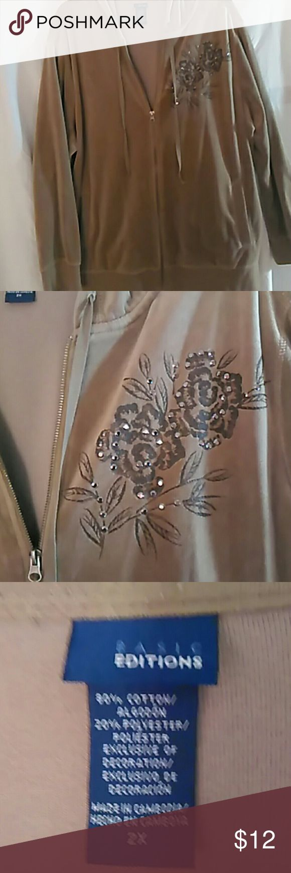 2X velour jacket, light brown w/dark brown flower Velour plus size zip up jacket 2X Basic Editions Jackets & Coats