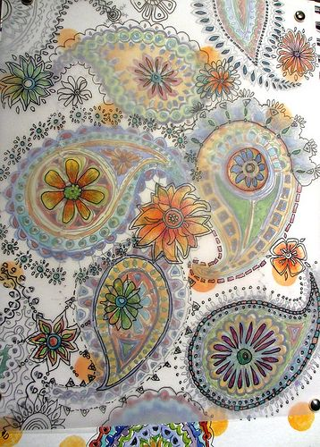 paisley doodle covered by vellum and more doodles from Jane's sketchbook; artist…
