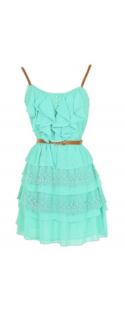 Lily Boutique Nashville Nostalgia Belted Ruffle Dress in Mint, $46  www.lilyboutique.com