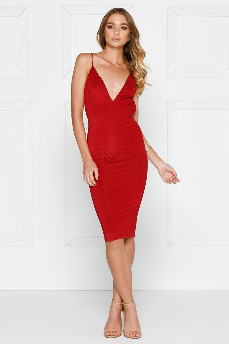 Alamour The Label - Ysabel Wine Red Sexy Low Back Cocktail Dress