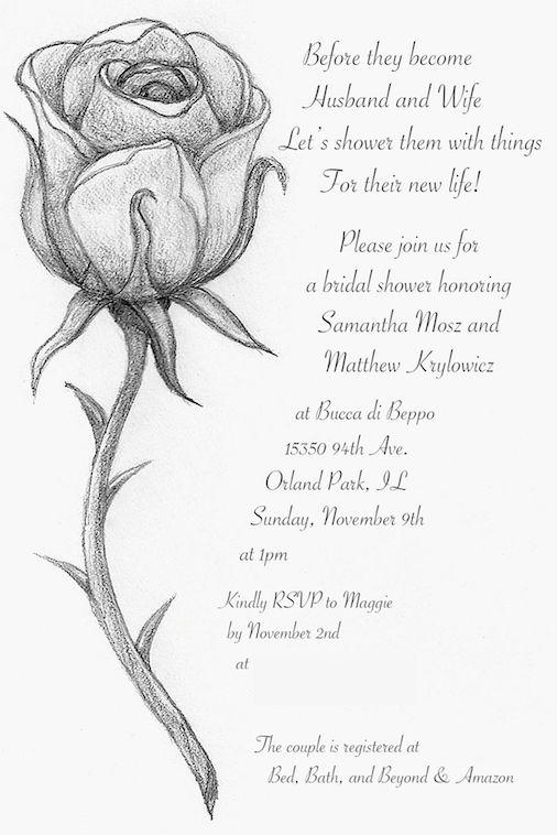 Wedding Shower Invitation - Beauty & the Beast