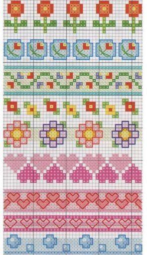 Punto de cruz - Cenefas de flores y corazones.