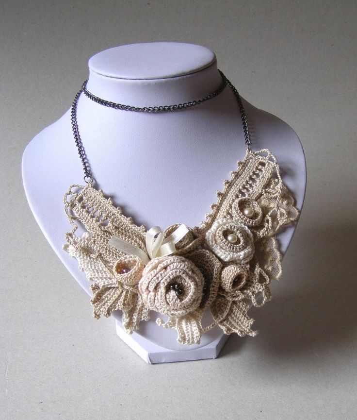 freeform crochet necklace