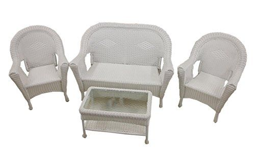 4-Piece White Resin Wicker Patio Furniture Set- 2 Chairs Loveseat & Table For Sale https://homepatiogarden.net/4-piece-white-resin-wicker-patio-furniture-set-2-chairs-loveseat-table-for-sale/
