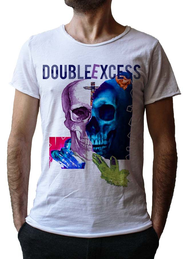 Men's T-Shirt SPIRITUAL BLU SKULL - Made in Italy - 100% Cotton - SKULL COLLECTION http://www.doubleexcess.com/