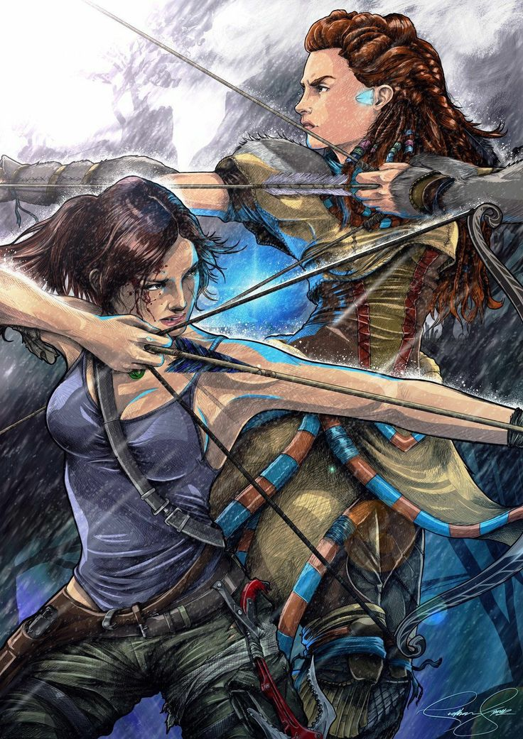 A mix of Horizon Zero Dawn: Aloy and Tomb Raider Lara Croft