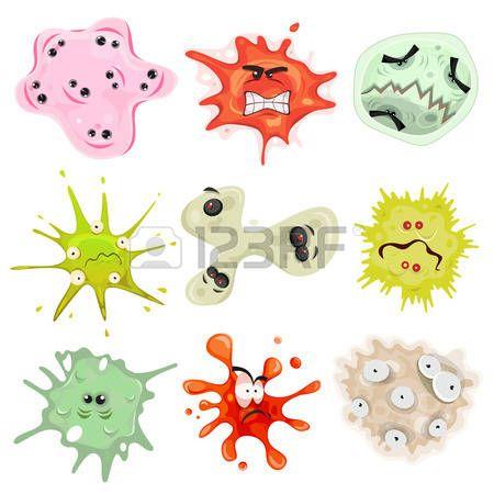 Illustration eines Cartoon Reihe von verschiedenen lustige Mikroben Bakterien Viren Am ben und ander Lizenzfreie Bilder