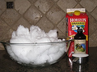 A recipe for snow cream-Always wanted to do this with the kids...My Gramps used to make this with us. :)