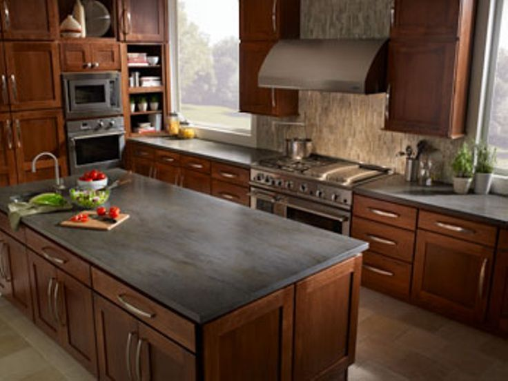 Kitchen Countertop Ideas With Oak Cabinets Slate Kitchen