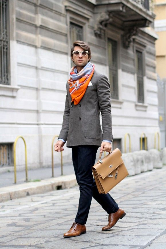 Dress For Success Wrap Around Scarf Tan Leather Briefcase