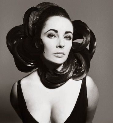 Elizabeth Taylor by Richard Avedon, 1964: - I am not sure if Richard Avedon is responsible for the photo or the headdress.